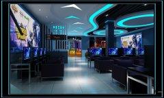蓝色调网咖装修设计效果图